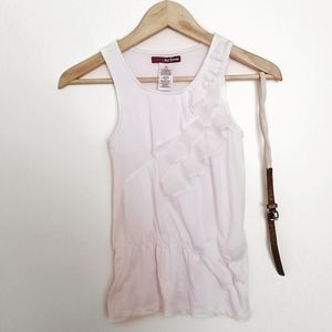 3/30$Epic Threads White Ruffled Tank Top with Belt